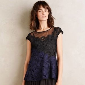 Deletta Sheer Garden Guise Lace Cap Sleeve Top